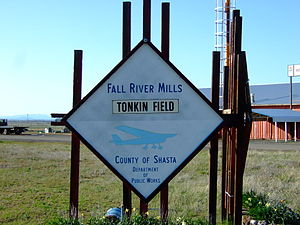 Fall River Mills, California - Sign for Fall River Mills Airport.