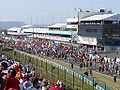 Fans on racetrack aftert the race at the 2003 Hungarian Grand Prix.jpg