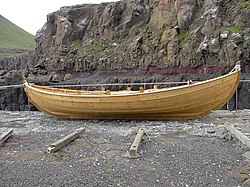 Faroe boat at Hvalbiareidi, Faroe Islands.jpg