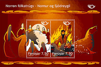 Norns - Norse mythology, Sjódreygil and the Norns Faroese stamps 2006