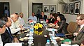 Farooq Abdullah and the Head of the Federal Department of Environment, Transport, Energy and Communications of Switzerland (Swiss Confederation), Mrs. Doris Leuthard, at the delegation level talks, in New Delhi.jpg