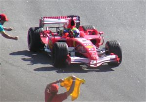 Felipe Massa - Massa celebrating victory at the 2006 Brazilian Grand Prix