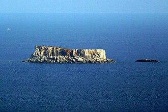 Filfla - Filfla and neighboring Filfoletta seen from Dingli Cliffs (from northwest)
