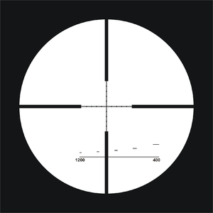 "Reticle - Etched ""FinnDot"" reticle (a regular mil-dot reticle with the addition of 400 m – 1200 m holdover (stadiametric) rangefinding brackets for 1 meter high or 0.5 meter wide targets at 400, 600, 800, 1000 and 1200 m). Reticle illumination is provided by a tritium ampoule embedded in the elevation turret."