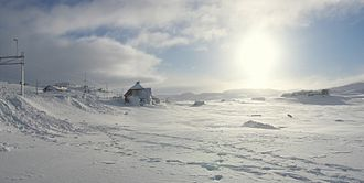 Finse is the highest point of the Norwegian Railway System, located at 1,222 m (4,009 ft) above sea level. FinseInWinter.jpg