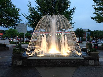 Five Points (Columbia, South Carolina) - Fountain in Five Points at night