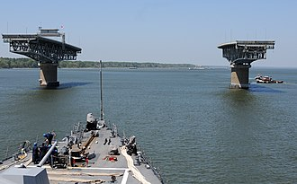 George P. Coleman Memorial Bridge - Image: Flickr Official U.S. Navy Imagery USS Winston S. Churchill gets underway