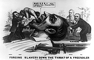 "Stephen A. Douglas - Forcing Slavery Down the Throat of a Freesoiler- An 1856 cartoon depicts a giant ""Free Soiler"" being held down by James Buchanan and Lewis Cass standing on the Democratic platform marked ""Kansas"", ""Cuba"" and ""Central America"". Franklin Pierce also holds down the giant's beard as Douglas shoves a black man down his throat. A victim of lynching can also be seen in the background."