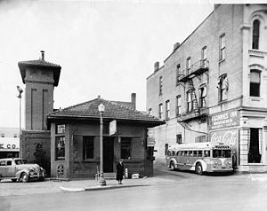 Ann Arbor and Ypsilanti Street Railway - The former Ann Arbor and Ypsilanti Street Railway station at West Huron Street in Ann Arbor serving as the Greyhound bus depot, ca. 1939