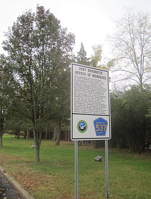 Fort Monmouth - Sign describing the Avenue of Memories monuments