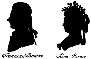 Nancy Storace - Silhouette of Francesco Benucci and Anna Storace by Hieronymous Loeschenkohl, from Oesterreichischer National Taschenkalender, Vienna 1786-1787