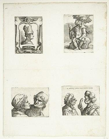 File:Francesco Sforza, Draailier speler, Twee karikaturale ...