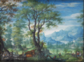 Frans Boels - A deer hunt in a wooded landscape.tiff