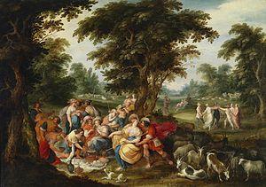 Ambrosius Francken II - Arcadia; The Golden Age, a collaborative work by Ambrosius Francken II, Frans Francken the Younger, Hans III Jordaens, Abraham Govaerts and Alexander Keirincx