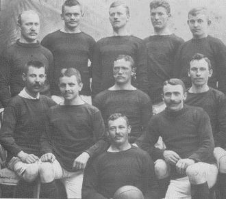 Boldklubben Frem - Frem's squad of the 1901–1902 Copenhagen Championship-winning season. The player at the very centre is Axel Byrval.