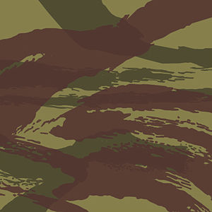 "Battledress - The French TAP47 lizard pattern camouflage, based on the ""brush stroke"" pattern of the British Denison smock"