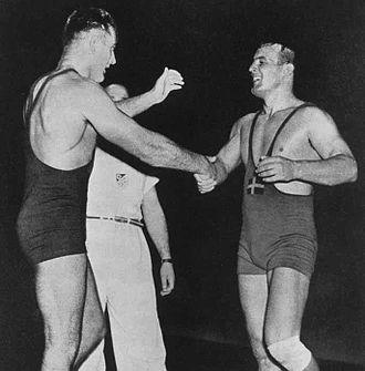 Fritz Stöckli - Stöckli (left) vs. Bengt Fahlkvist at the 1948 Olympics