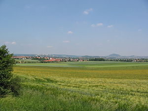 Fulda (district) - Countryside in the Fulda district, looking east toward the town of Fulda.