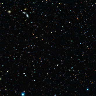 Astronomical survey - Composite image of the GOODS-South field, result of a deep survey using two of the four giant 8.2-metre telescopes composing ESO's Very Large Telescope