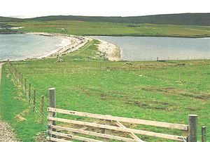 Ayre (landform) - The Ness of Galtagarth is connected to Isle of Yell by the Ayre of Galtigarth – a tombolo that separates the tidal Loch of Galtigarth (on the right) from the open sea