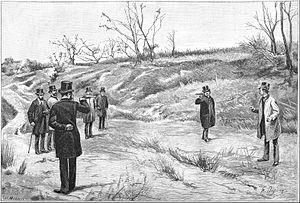 Oscar Bardi de Fourtou - The duel fought by Oscar Bardi de Fourtou and Léon Gambetta in 1879, as illustrated by Henri Dupray