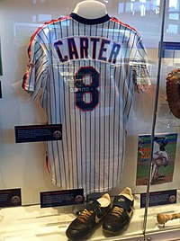 539c5ad6fa3993 Gary Carter jersey displayed at Citi Field Hall of Fame & Museum in New  York.