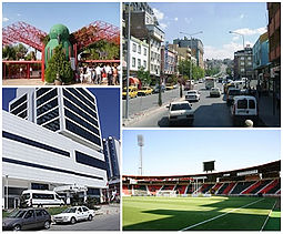 Clockwise from top left: Gaziantep zoo; a view of the city center; Kamil Ocak Stadium; Uğur Plaza Hotel.