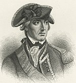 Black and white print of Sir William Howe in military uniform and three-cornered hat