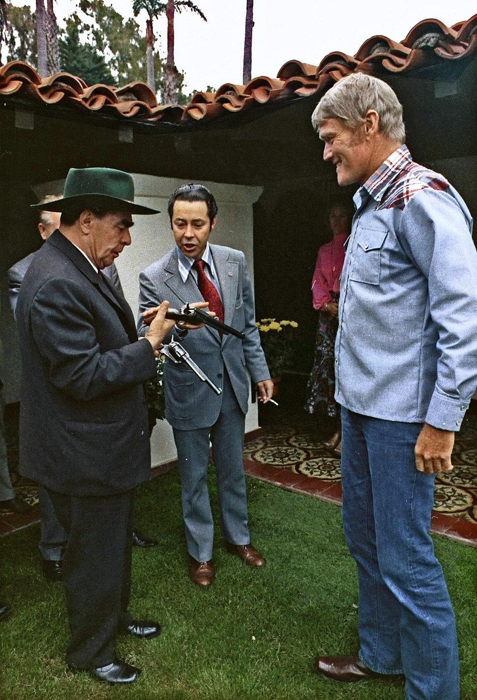 General Secretary Brezhnev meets actor Chuck Connors, at San Clemente - NARA - 194526 - edited