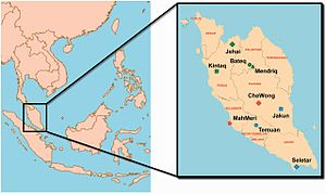 Orang Seletar - Geographical location of Orang Seletar (located in Johor) and other Orang Asli communities in Peninsular Malaysia.