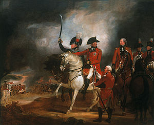1992 Windsor Castle fire - A smaller copy of George III and the Prince of Wales Reviewing Troops, a large painting destroyed in the fire