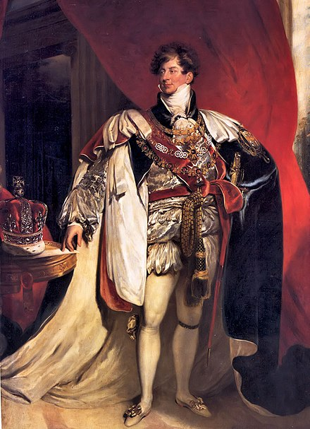 The patron of King's College London, King George IV, shown in a portrait by Sir Thomas Lawrence George IV van het Verenigd Koninkrijk.jpg