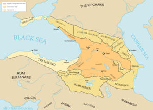 Nicopsis - Nicopsia on a modern map of the Kingdom of Georgia early in the 13th century.