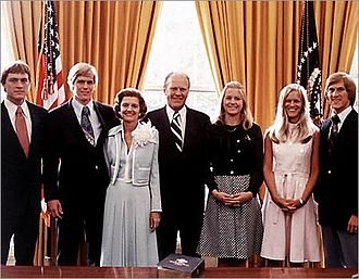 Betty Ford - Betty Ford (third from left) and her family in the White House in 1974