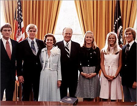 Gerald Ford family in the Oval Office in 1974