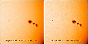 Solar Dynamics Observatory - Comparison of HMI Continuum images immediately after an eclipse, and then after the sensor has re-warmed.