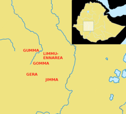 The five Oromo kingdoms of the Gibe region