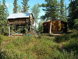 Kobuk Valley National Park - Archeologist J. Louis Giddings' backcountry cabin and cache in the Onion Portage Archeological District