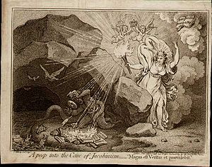 "Anti-Jacobin Review - James Gillray, ""A Peep Into the Cave of Jacobinism"" (1798). Published in the Anti-Jacobin Review."