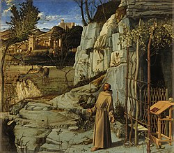 The Ecstasy of St. Francis (or St. Francis in the Desert) is a painting by the Italian Renaissance master Giovanni Bellini, who started this painting in 1475 and finished it around 1480.