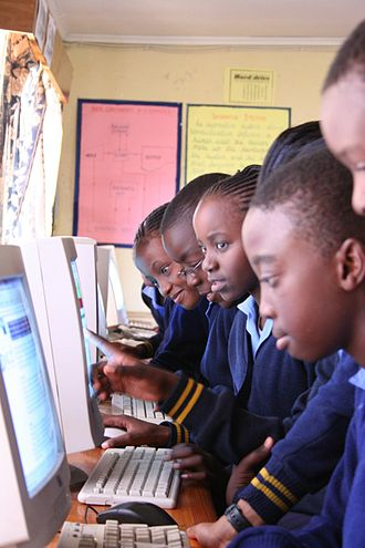 Telecentre - African children in a telecentre in Zambia