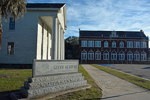 Glynn Academy - Campus sign, oldest building, and Glynn Academy building
