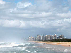Looking south towards Surfers Paradise on the ...