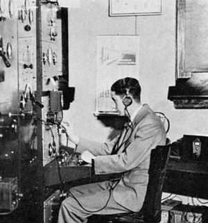 WEW - Gordon Sherman, chief engineer of WEW at the controls, 1933