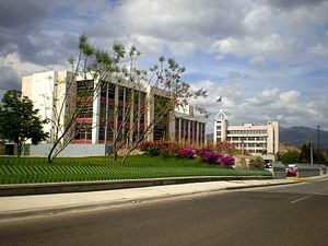 Presidential Palace of Honduras - At the end the ex Presidential House of Honduras that occupy the president Rafael Leonardo Callejas Romero, situated in The Governmental Civic Centre, Tegucigalpa, M.D.C.