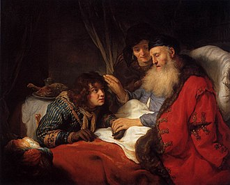 Jacob - An elderly Isaac blessing Jacob, oil on canvas by Govert Flinck, 1638