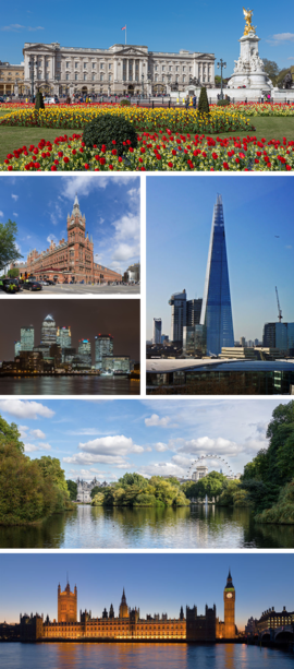 From upper left: Buckingham Palace, St Pancras International Station, Canary Wharf, The Shard, St. James's Park, Palace of Westminster
