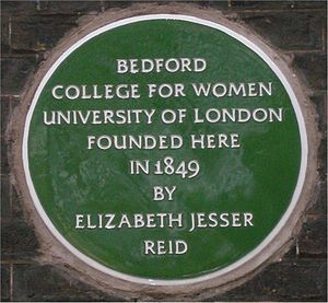 Royal Holloway, University of London - Green plaque at Bedford Square, London