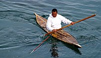 Inuit seal hunter in a kayak armed with a harp...