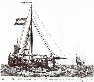 Fishing vessel - Herring Buss taking aboard its drift net (G. Groenewegen).